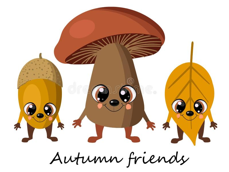 Autumn mushroom mushroom, oak acorn and yellow leaf from the tree. Cute cartoon funny characters. Decorating autumn cups and royalty free illustration