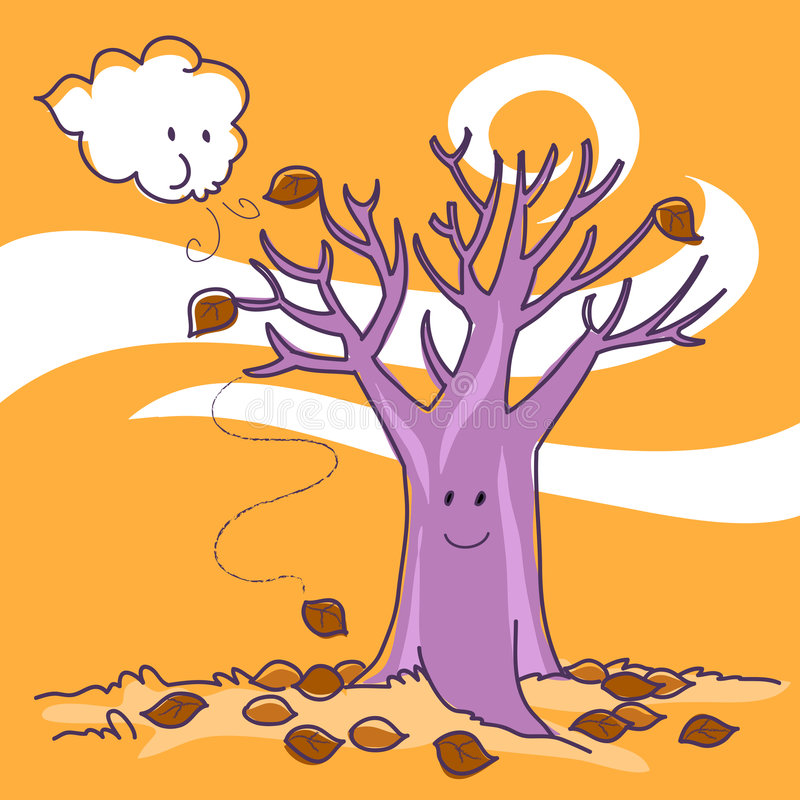 autumn naked tree royaltyfri illustrationer