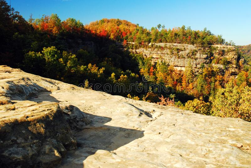 Autumn in Natural Bridges State Park, Kentucky. Autumn along a ridge line in Natural Bridges State Park, Kentucky royalty free stock photo