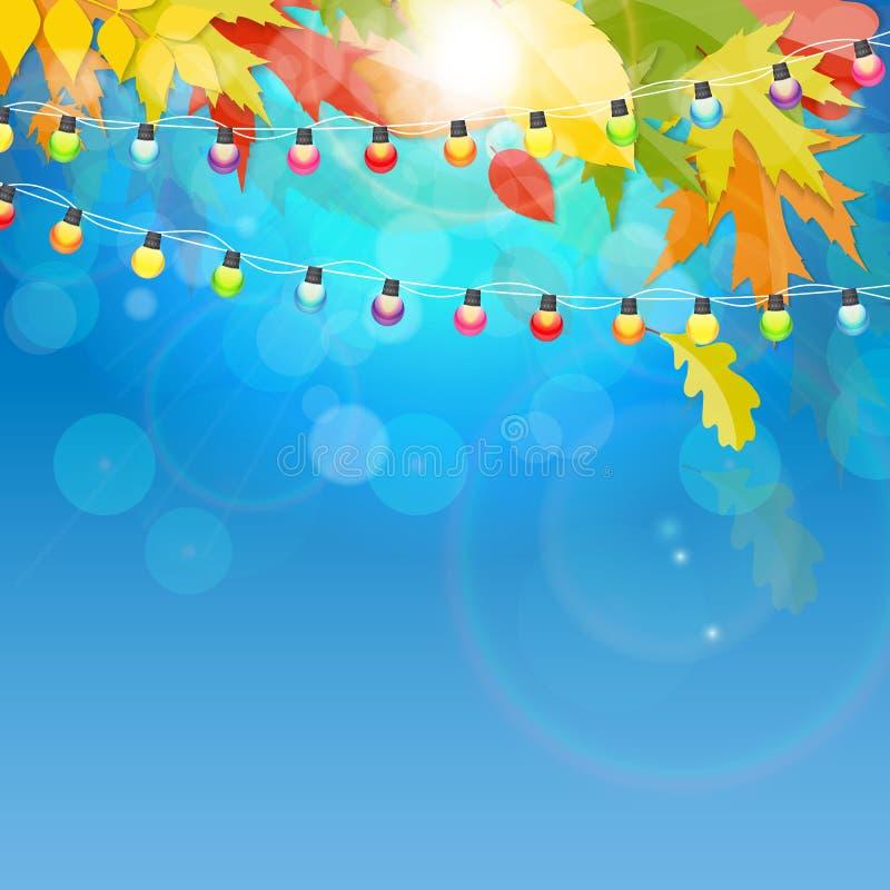 Autumn Natural Leaves Background brilhante Ilustração do vetor ilustração stock