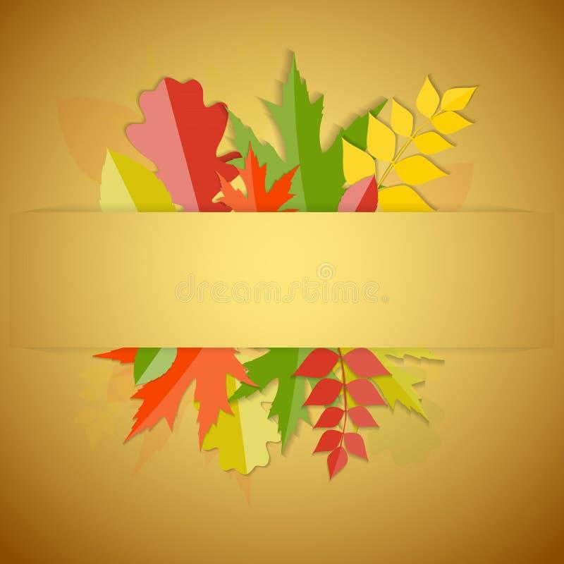 Autumn Natural Leaves Background brilhante Vetor ilustração royalty free