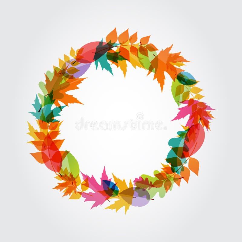 Autumn Natural Leaves Background brilhante Vetor ilustração do vetor