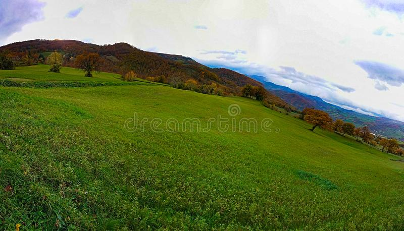 Autumn Natural Panoramic Abstract Art Landscape Road stock image