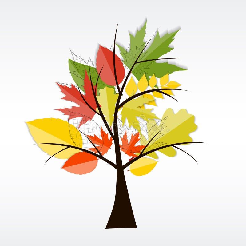 Autumn Natural Tree Background brilhante Vetor ilustração royalty free