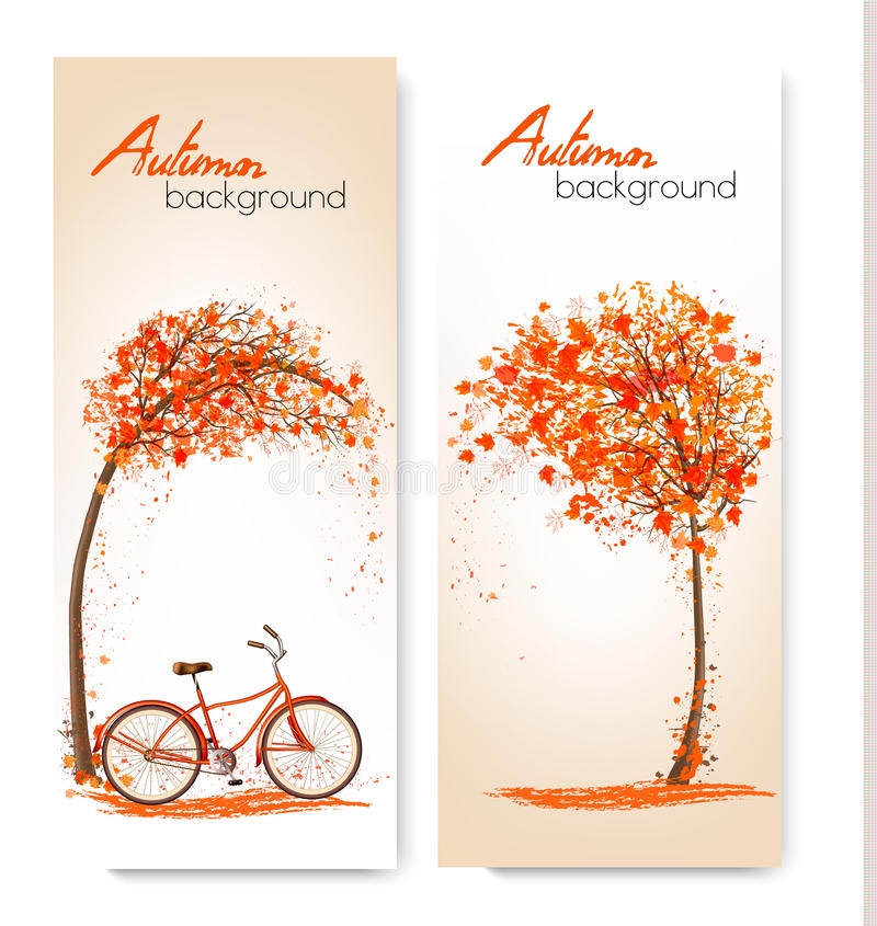 Autumn nature banners with a tree and a bicycle. stock illustration