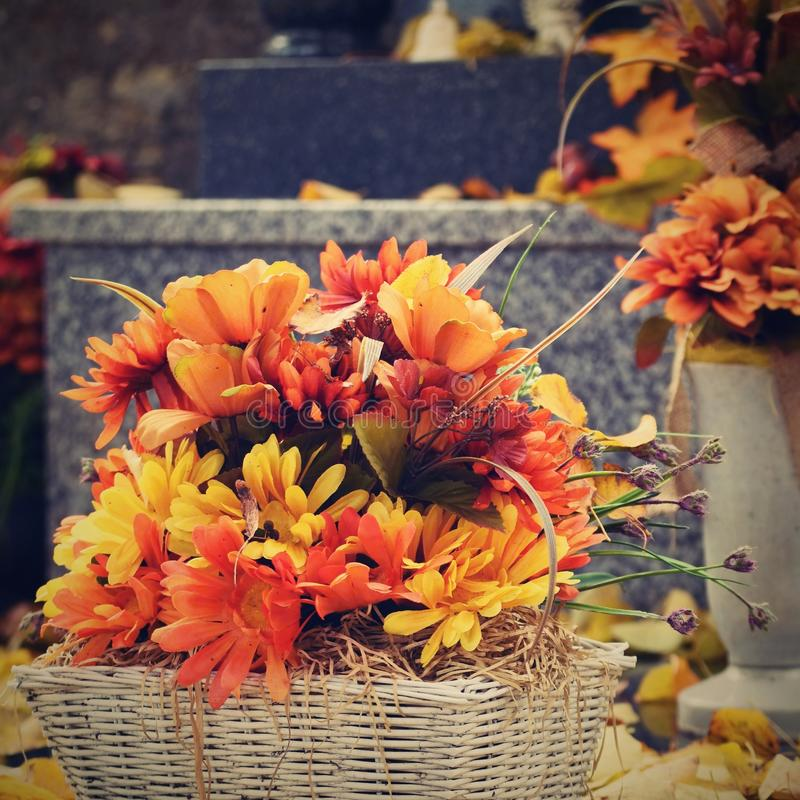Autumn nature concept.Beautiful autumn decorations. Colorful autumn flowers at the cemetery - Halloween. royalty free stock photography