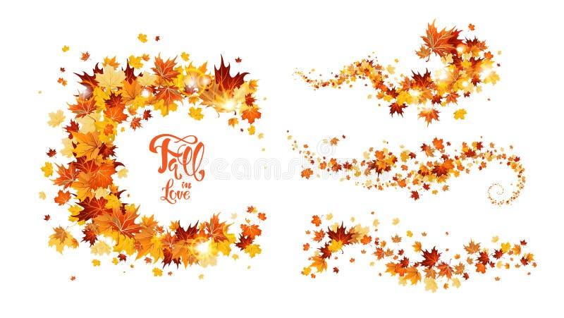 Autumn leaves swirl royalty free illustration