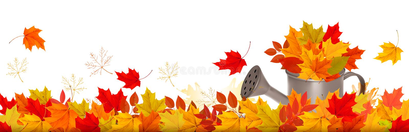 Autumn nature panorama with colorful leaves stock illustration