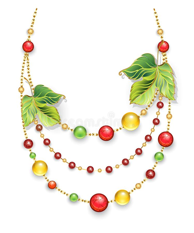 Autumn necklace with multicolored beads. Necklace made of gold chains, decorated with green, autumn leaves and green, red, orange beads made of precious stone on royalty free illustration