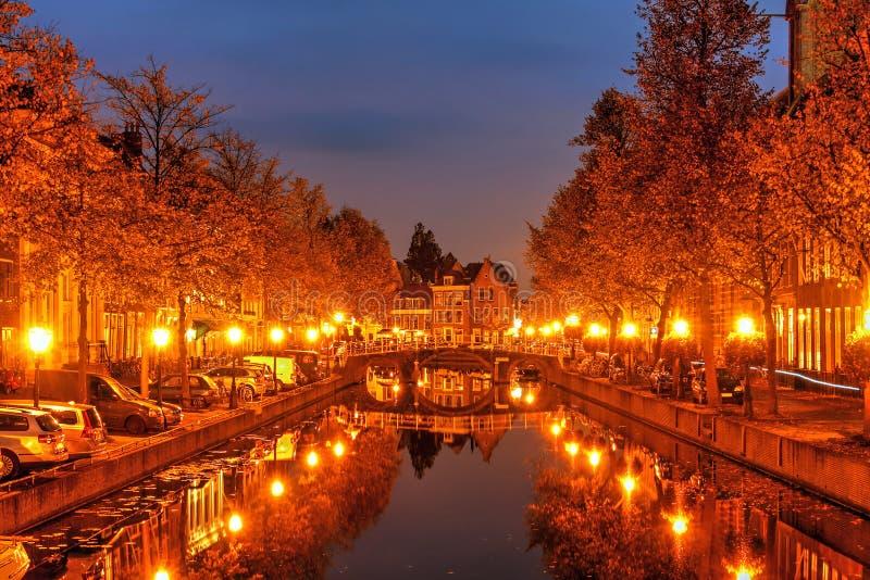Autumn night in Leiden, Netherlands royalty free stock photo