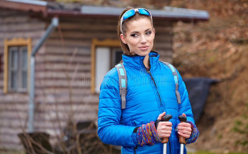 Autumn Nordic walking - active woman exercising outdoor.  stock photos