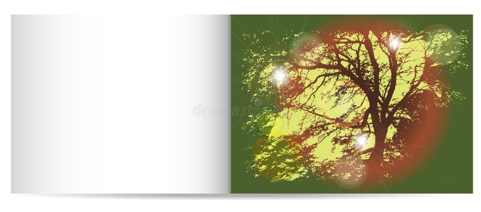 Download Autumn Nostalgy Card With Silhouette Of Tree Stock Vector - Illustration: 42235707