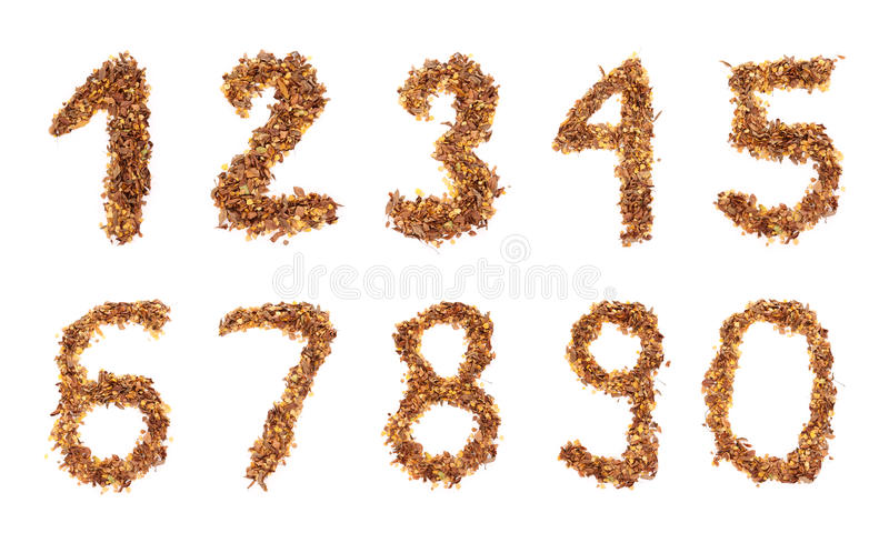 Autumn numbers stock image