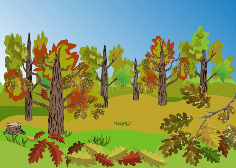 Autumn Oak Tree Grove landscape with beatiful colorful oak leaves folliage and outstanding landscape view. Good for cartoon props, seasonal decoration, posters stock illustration