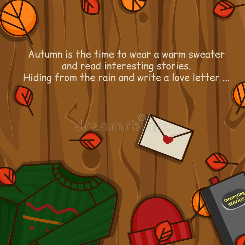 Autumn objects on the wood background. royalty free stock photo