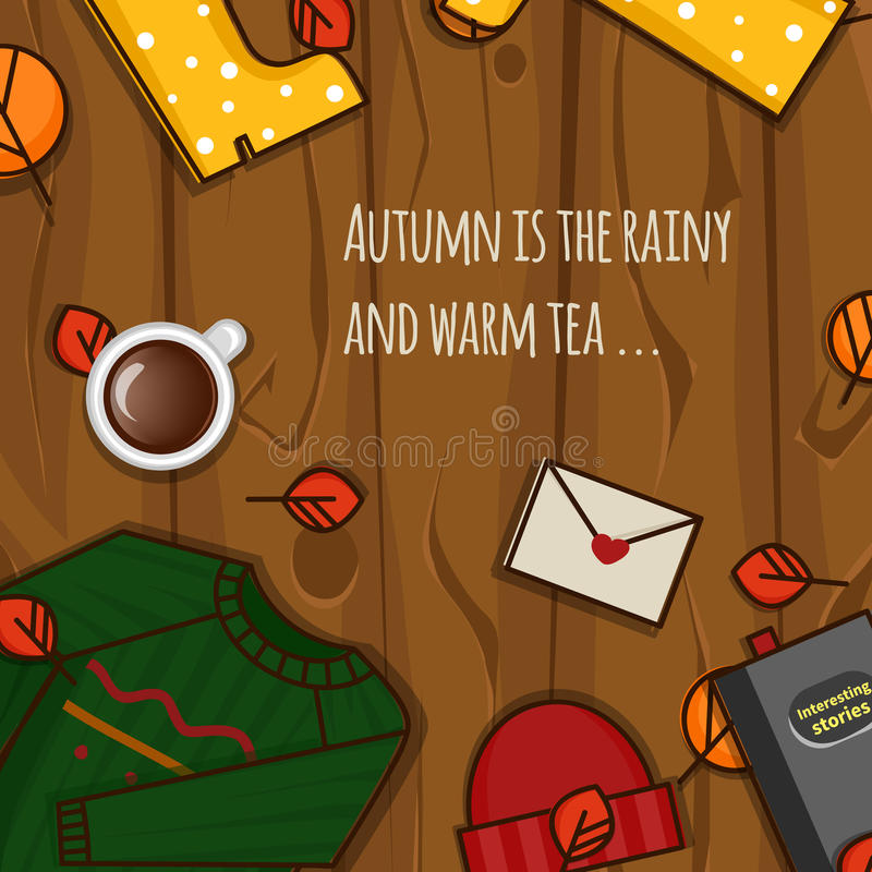 Autumn objects on the wood background. stock photos