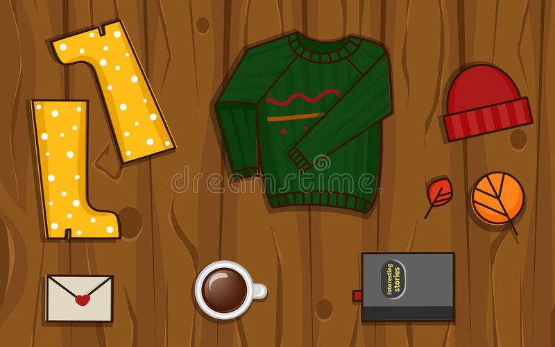 Autumn objects on the wood background. royalty free stock images