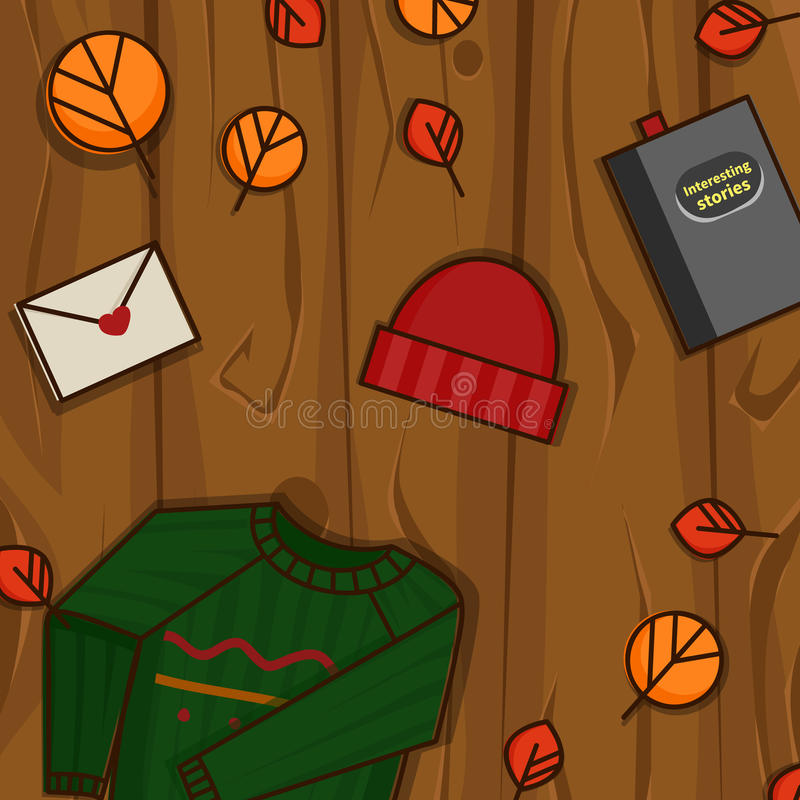 Autumn objects on the wood background. stock image