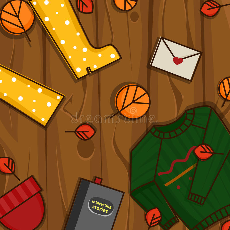Autumn objects on the wood background. stock images