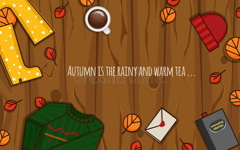 Autumn objects on the wood background. royalty free stock photos