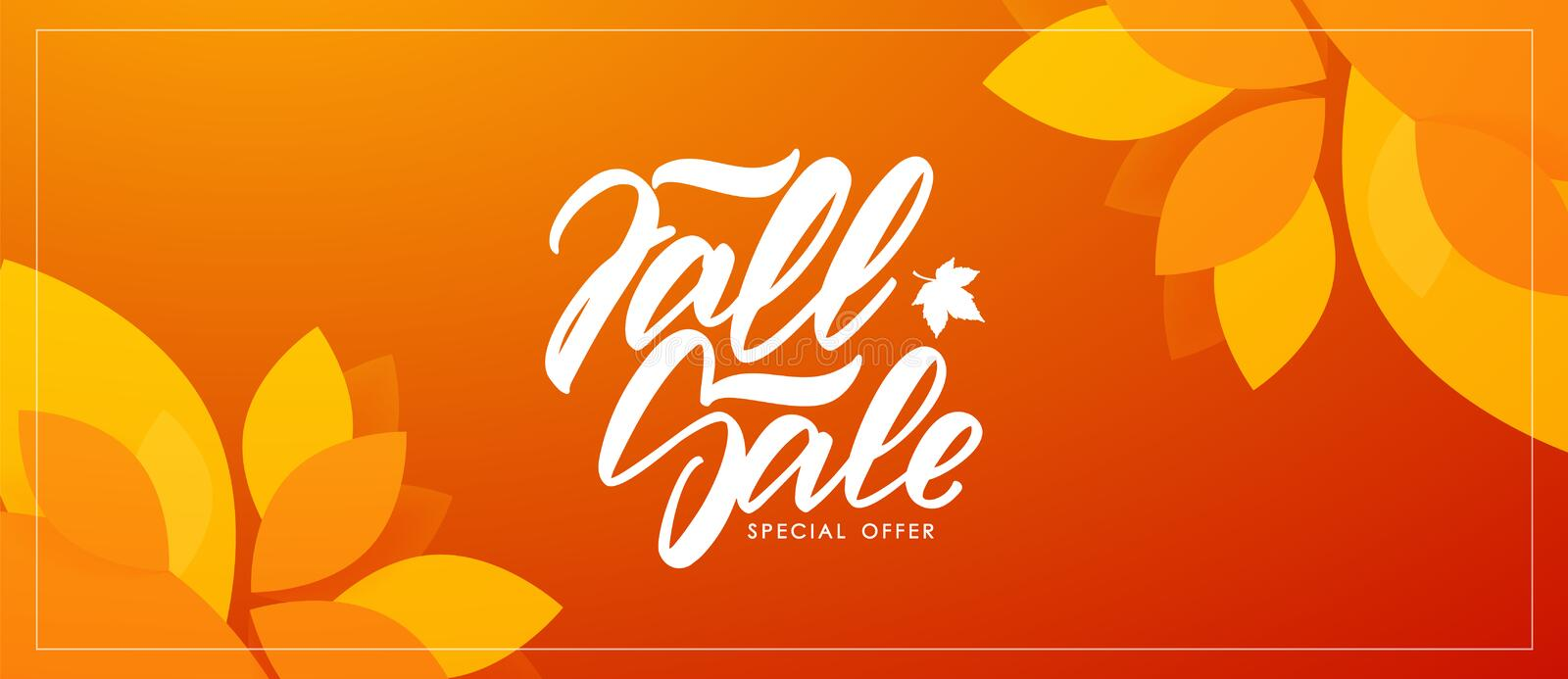 Autumn offer banner with hand lettering of Fall Sale and colorful leaves on orange background. Vector illustration: Autumn offer banner with hand lettering of vector illustration
