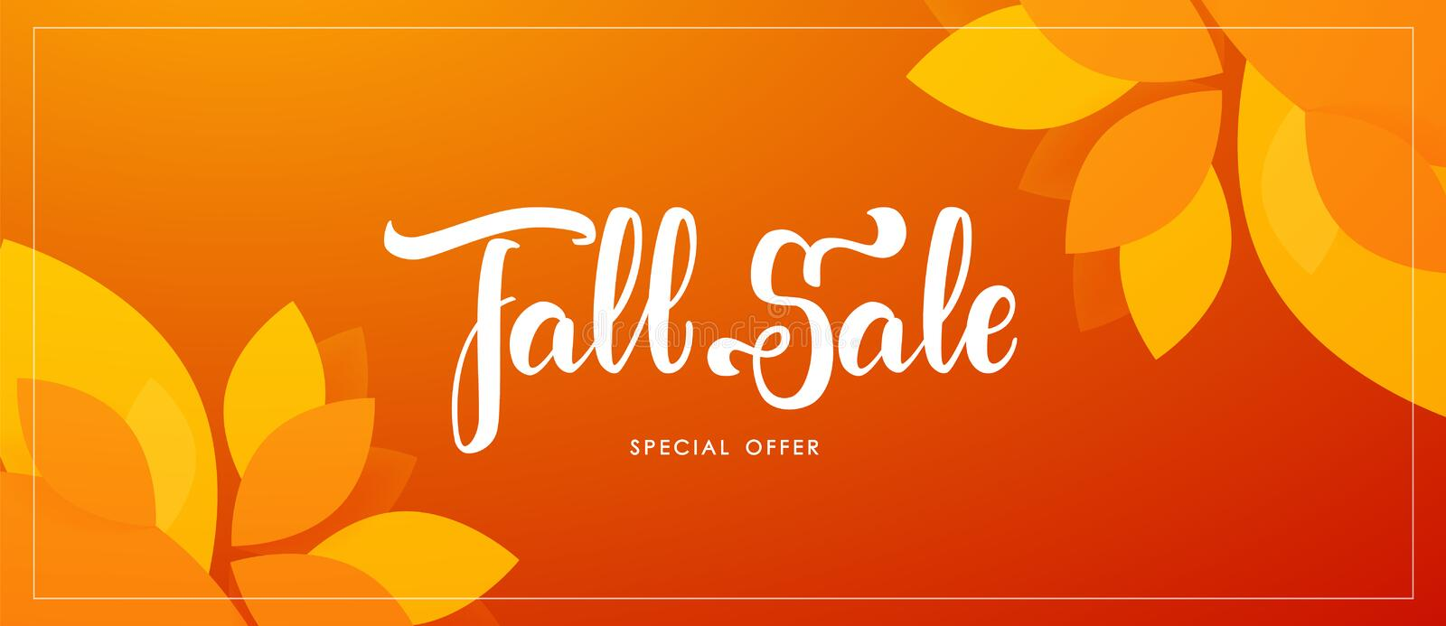 Autumn offer banner with hand lettering of Fall Sale and colorful leaves on red background. Vector illustration: Autumn offer banner with hand lettering of Fall royalty free illustration