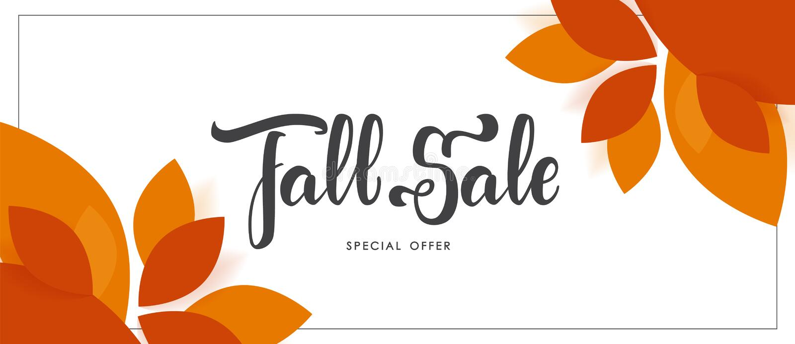 Autumn offer banner with hand lettering of Fall Sale and colorful leaves. Vector illustration: Autumn offer banner with hand lettering of Fall Sale and colorful stock illustration