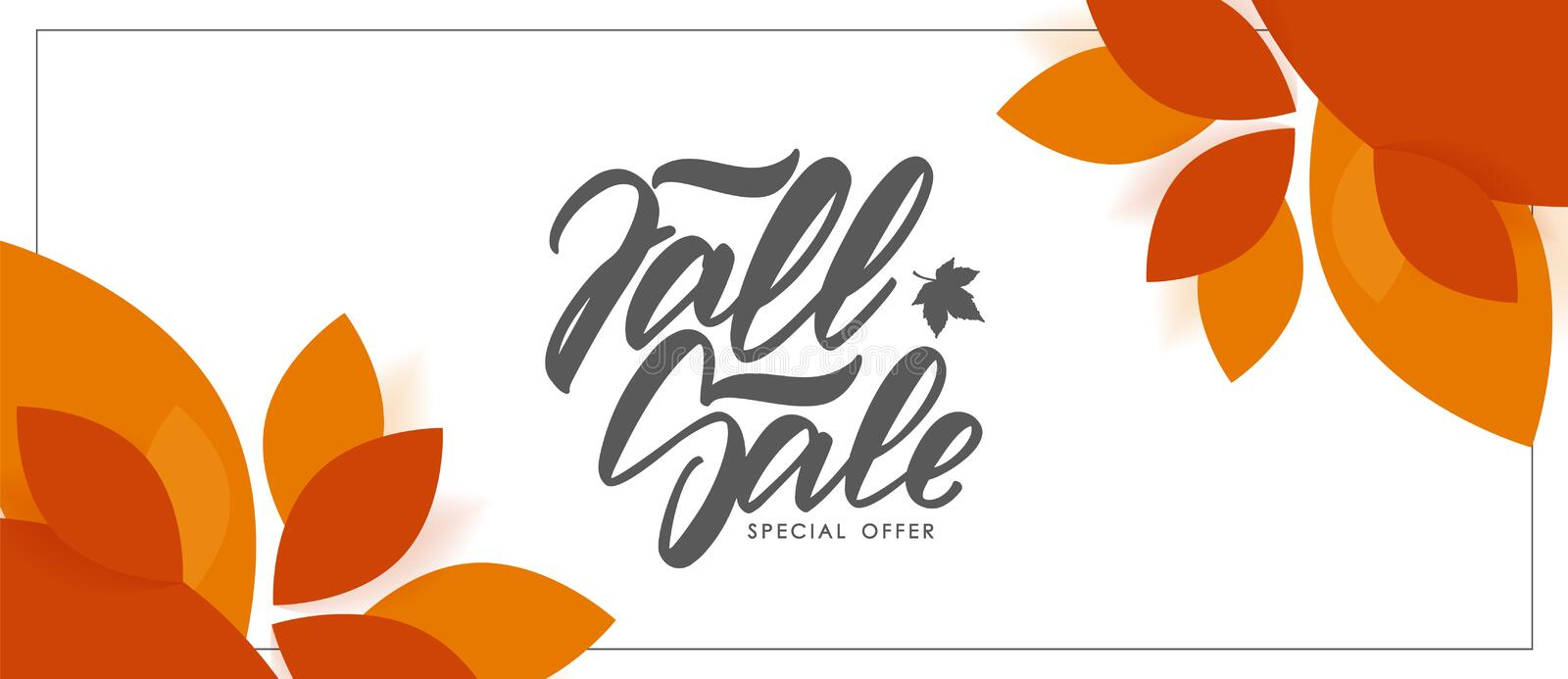 Autumn offer banner with hand lettering of Fall Sale and colorful leaves on white background. Vector illustration: Autumn offer banner with hand lettering of stock illustration