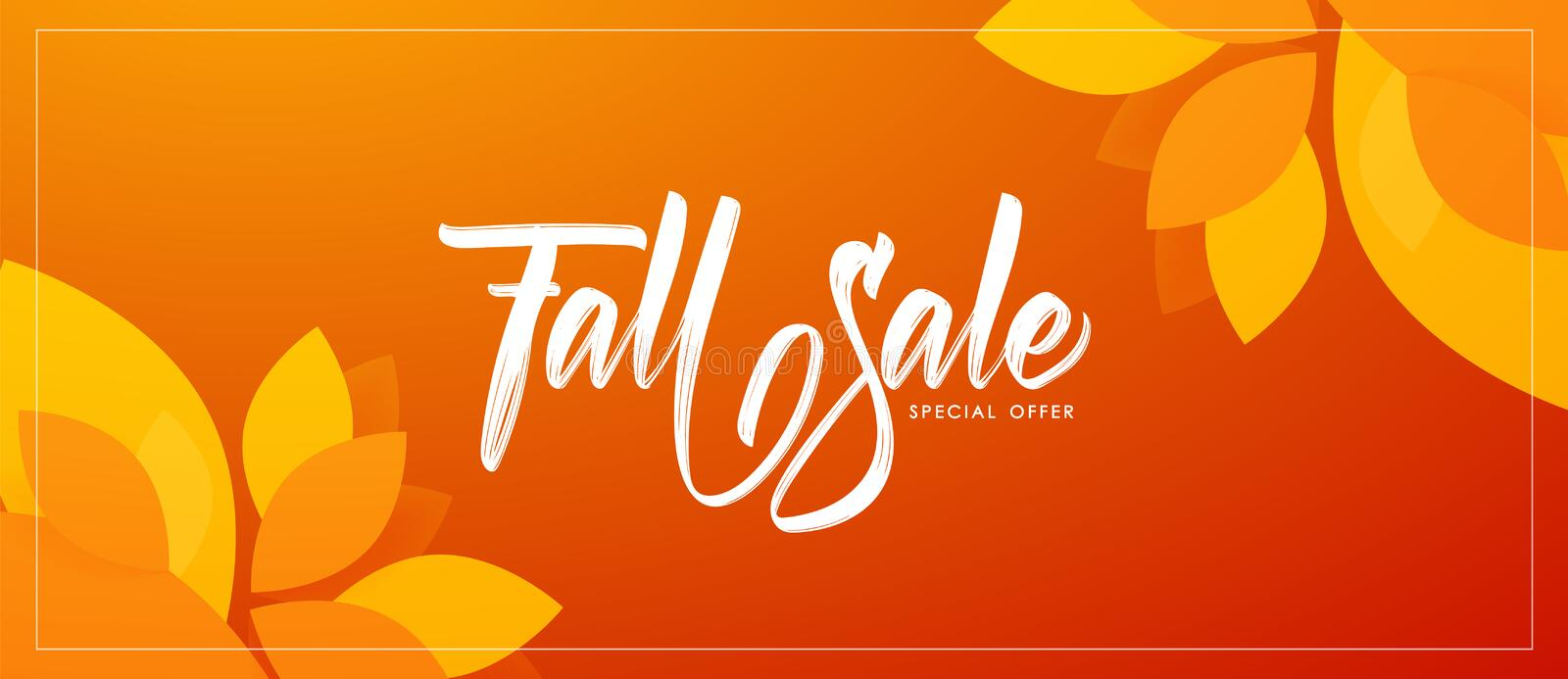 Autumn offer banner template with hand lettering of Fall Sale and colorful leaves on orange background. Vector illustration: Autumn offer banner template with royalty free illustration