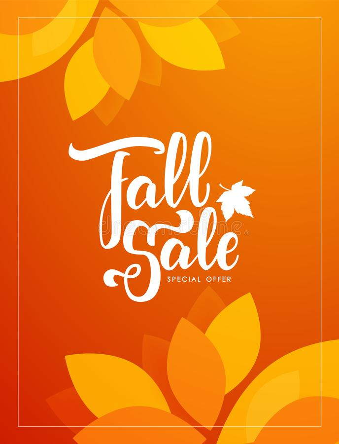 Autumn offer poster with hand lettering of Fall Sale and colorful leaves on orange background. Vector illustration: Autumn offer poster with hand lettering of stock illustration