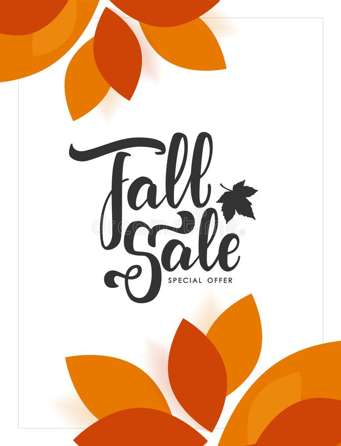 Autumn offer poster with hand lettering of Fall Sale and colorful leaves on white background. Vector illustration: Autumn offer poster with hand lettering of vector illustration