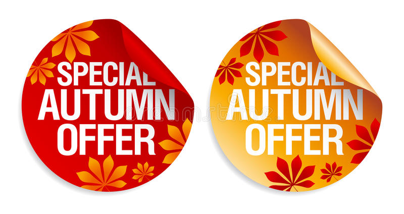 Autumn offer stickers. vector illustration