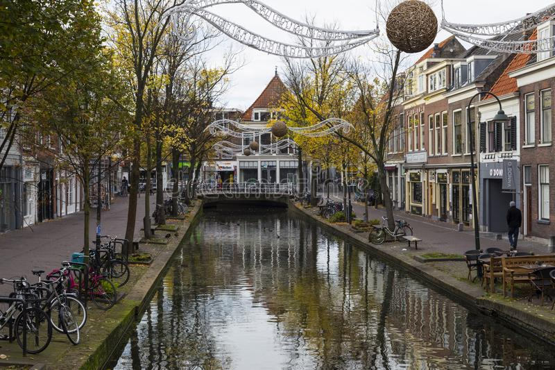 Autumn in the old town of Delft. Netherlands royalty free stock image