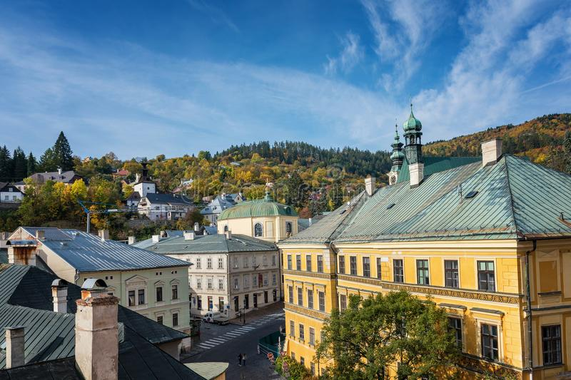 Autumn in old town with historical buildings in Banska Stiavnica, Slovakia, UNESCO stock photos