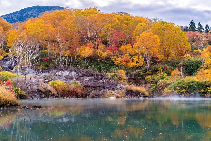 Autumn Onsen Lake Aomori Japan royalty-vrije stock fotografie