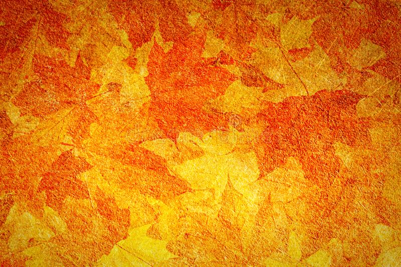 Autumn orange grunge background, old paper texture, vintage, scratch, brown maple leaves, seasons, autumn, design stock photos