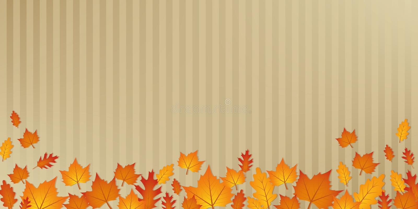 Autumn orange and yellow leaves on abstract paper background stock illustration