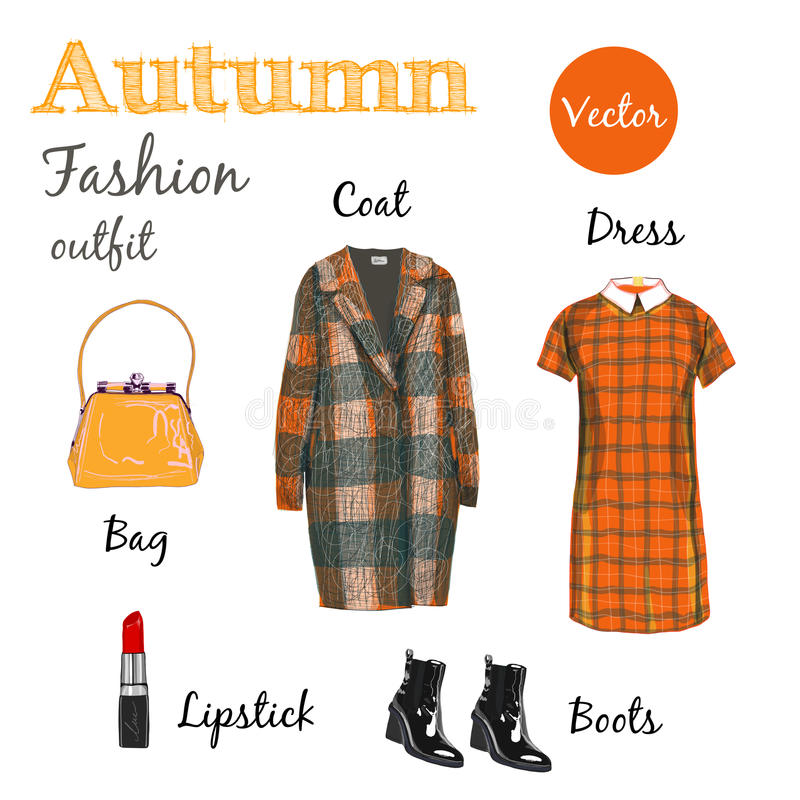 Autumn outfit. Fashionable orange outfit, fashion style, Items of clothing and accessories, isolated on white background vector illustration