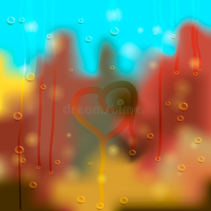 Autumn outside the window. Vector illustration. Abstract background. Autumn landscape behind the misted glass with drops of water stock illustration
