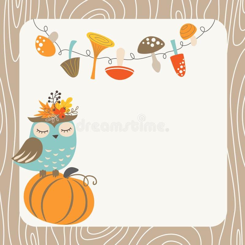 Autumn owl stock illustration