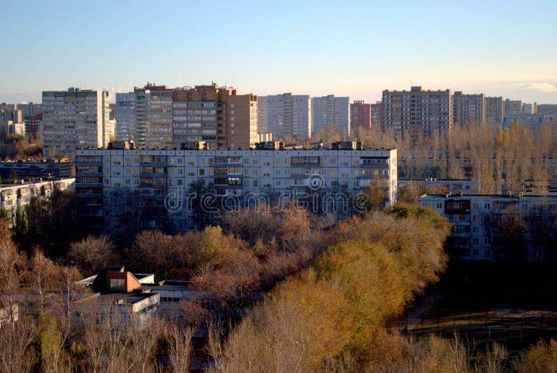 Autumn panorama of the city from the height of the 14th floor of a residential building. Autumn panorama of the city of Togliatti from the height of the 14th stock photo