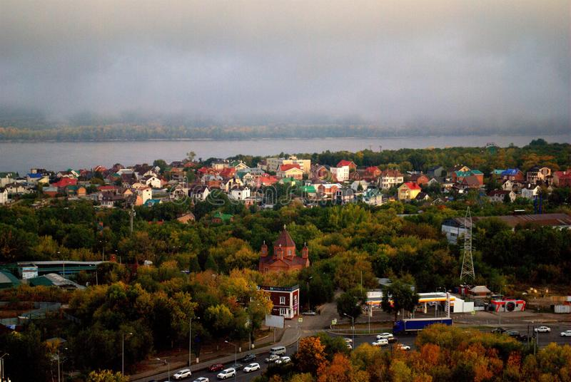 Autumn panorama of the city of Samara from the height of the 24th floor of the residential complex. stock image