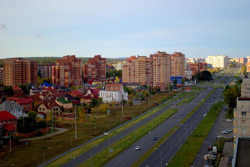 Autumn panorama of the city of Togliatti from the height of the 15th floor of a residential building. Autumn panorama of the city of Tolyatti from the height of royalty free stock image