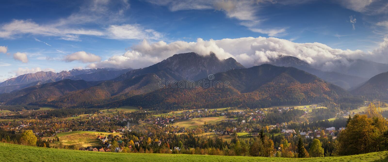 Autumn panorama of High Tatra mountains stock photo