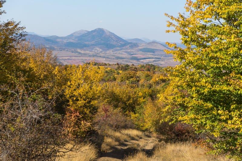 Autumn Panorama van de berg van Cherna Gora Monte Negro, Pernik-Gebied, Bulgarije stock foto's