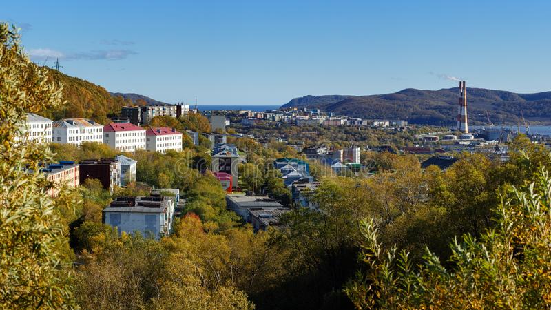 Autumn panorama view of old Soviet residential building of Petropavlovsk-Kamchatsky City. Eurasia, Russian Far East, Kamchatka. Autumn panorama view of Kamchatka royalty free stock photos