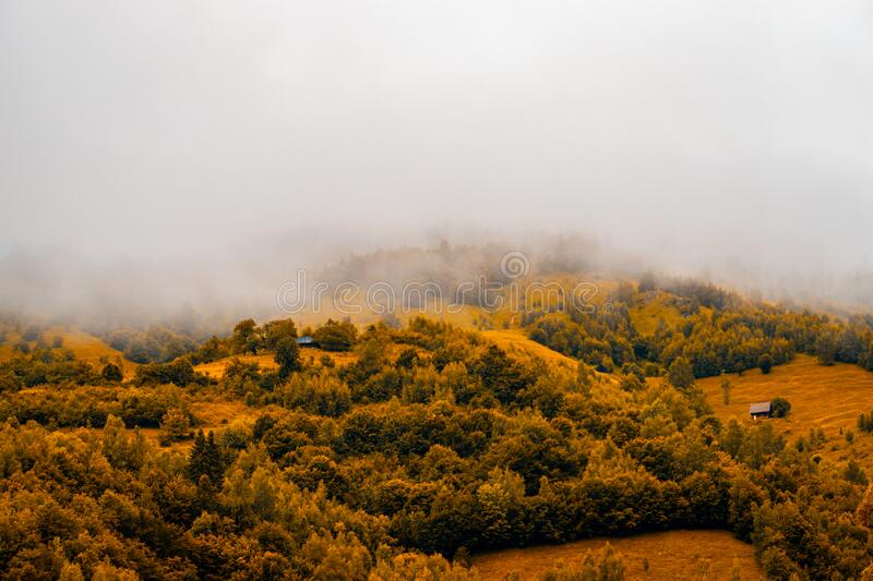 Autumn panoramic landscape of a hill forest in Moieciu de Jos, Brasov, Transylvania, Romania.  royalty free stock photography