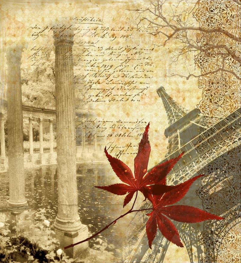 Autumn in Paris. Romantic autumn illustration in grunge retro style