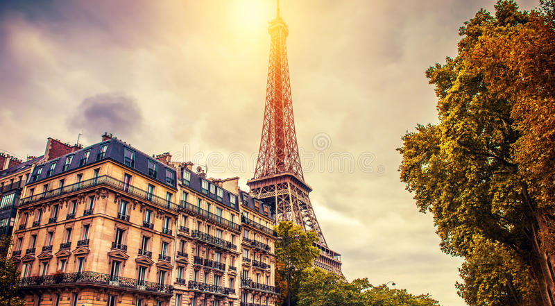 Autumn in Paris. Eiffel tower in Paris, sunny fall autumn season royalty free stock image