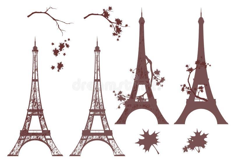 Autumn paris grunge vector silhouette set vector illustration